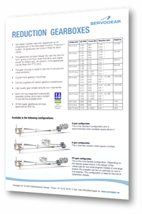 Servogear Reduction Gearboxes - Overview